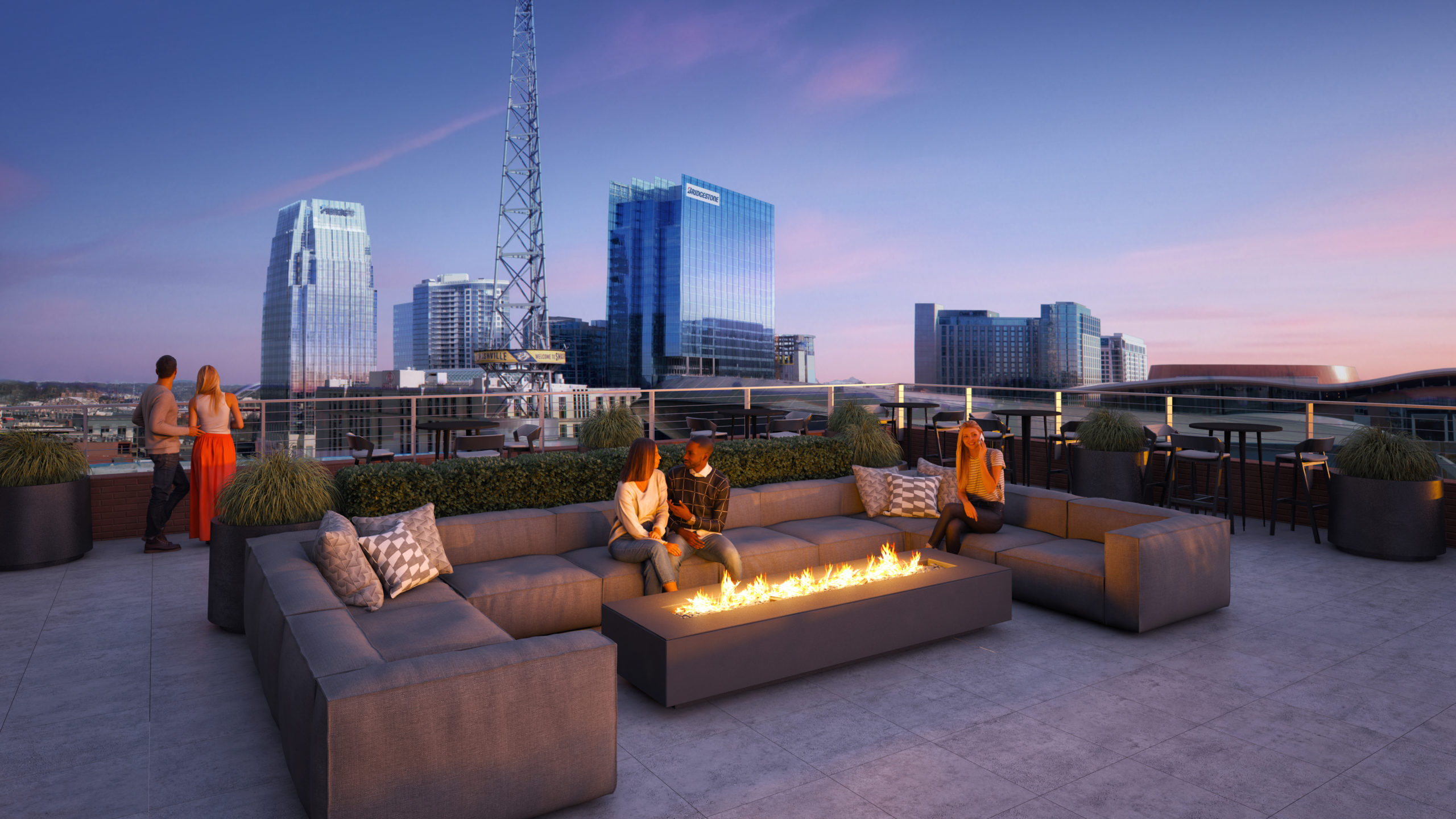 the place rooftop amenities with firepit and couches